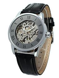 preiswerte -WINNER Herrn Damen Armbanduhren für den Alltag Modeuhr Armbanduhr Automatikaufzug Leder Band Freizeit Cool