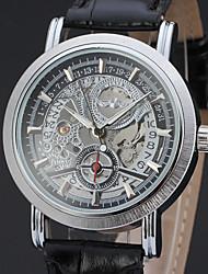 preiswerte -WINNER Herrn Automatikaufzug Mechanische Uhr / Armbanduhr Transparentes Ziffernblatt Leder Band Retro / Freizeit Schwarz / Braun
