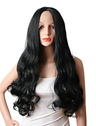 Недорогие -Парики из искусственных волос Естественные кудри Парик в афро-американском стиле Прямой пробор Черный Жен. Лента спереди Парики для