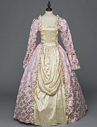 Victorien Rococo Féminin Adulte Costume de Soirée Bal Masqué Rose Cosplay Satin Stretch Manches Longues Longueur Sol