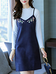cheap -Women's Daily Daily Wear Street chic Winter Fall T-Shirt Dress Suits,Embroidery V-neck Long Sleeves Embroidered Terylene Micro-elastic