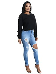 cheap -Women's Long Sleeves Hoodie & Sweatshirt - Solid, Cut Out Sporty