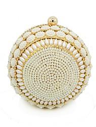 Kvinder Tasker Alle årstider Polyester Aftentaske Perledetaljering for Bryllup Fest Guld Sølv