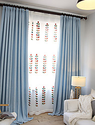 cheap -Grommet Top Double Pleat Pencil Pleat Curtain Modern, Printed Solid Living Room Polyester Blend Material Blackout Curtains Drapes Home