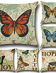 cheap -6 pcs Cotton/Linen Pillow Case Pillow Cover Traditional/Classic Euro Retro