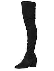 cheap -Women's Shoes Fabric Spring Fall Fashion Boots Slouch Boots Boots Round Toe Thigh-high Boots for Casual Dress Black Gray Almond Burgundy