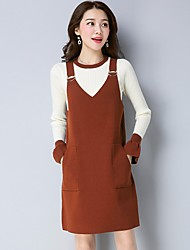 cheap -Women's Daily Casual Winter Sweater Dress Suits,Solid Round Neck Long Sleeves Cotton