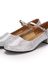 "cheap -Women's Modern Paillette Heel Performance Paillette Customized Heel Silver 1"" - 1 3/4"" Customizable"