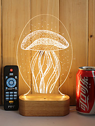 cheap -1 Set Of 3D Solid Wood LED Night Light USB Mood Lamp Remote Control Dimming Gift Jellyfish