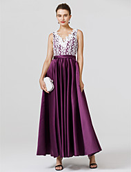 cheap -A-Line Princess V Neck Floor Length Lace Stretch Satin Cocktail Party / Prom / Formal Evening / Black Tie Gala / Holiday Dress with