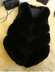 Manteau en Fourrure Femme,Couleur Pleine Décontracté / Quotidien simple Hiver Manches Longues Col en V Normal Autres