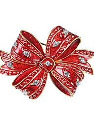 Men's Women's Brooches Gift Zircon Gold Plated Alloy Bowknot Jewelry For New Year Christmas