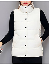 Dámské S vycpávkou Jednoduchý Jdeme ven Jednobarevné-Kabát Polyester Bez rukávů
