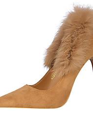 preiswerte -Damen Schuhe Pelz Winter Herbst Gladiator Pumps High Heels Stöckelabsatz Spitze Zehe Feder für Normal Party & Festivität Schwarz Grau