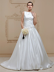 Ball Gown Bateau Neck Chapel Train Satin Stretch Satin Wedding Dress with Buttons Draping Sashes / Ribbons by LAN TING BRIDE®