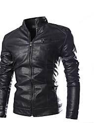 cheap -Men's Daily Wear Vintage Fall Regular Jacket, Solid Round Neck Cotton Acrylic Others