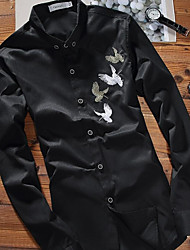 cheap -Men's Cotton Shirt - Embroidery Button Down Collar / Long Sleeve