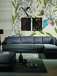 baratos -Floral Árvores/Folhas 3D Decoração para casa Moderna Clássico Rústico Revestimento de paredes, Tela de pintura Material adesivo necessário