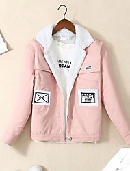cheap -Women's Daily Going out Simple Casual Spring Fall Denim Jacket,Print Regular Others