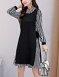 cheap -Women's Going out Plus Size Casual Loose Two Piece Sweater Dress,Striped Round Neck Above Knee Long Sleeve Polyester Nylon Winter Fall