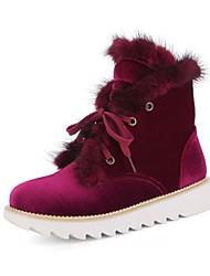 Недорогие -Жен. Обувь Дерматин Зима Зимние сапоги Удобная обувь Ботинки На низком каблуке Круглый носок Ботинки для Черный Красный