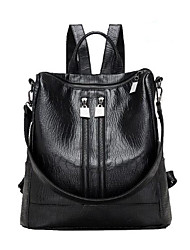 cheap -Women Bags PU Backpack Zipper for Casual All Seasons Black