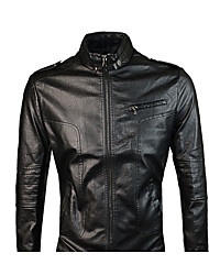 Men's Going out To-Go Simple Casual Winter Fall Leather Jacket,Solid Stand Long Sleeves Regular Synthetic Leather