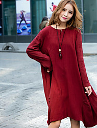 Women's Going out Tunic Dress,Solid Round Neck Knee-length Long Sleeves Cotton Spring Fall Low Rise Inelastic Medium