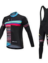 cheap -Malciklo Long Sleeve Cycling Jersey with Bib Tights - White / Black Bike Clothing Suit, Thermal / Warm, Quick Dry, Anatomic Design / Stretchy / High Elasticity / Reflective Strips