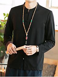 Langærmet V-hals Herrer Ensfarvet Kineseri Afslappet/Hverdag Skjorte,Bomuld