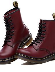 baratos -Mulheres Sapatos Couro Ecológico Primavera Outono Conforto Botas para Ao ar livre Preto Vinho