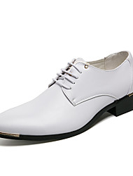 cheap -Men's Shoes Leather Fall Formal Shoes Oxfords Null Null White / Black / Brown / Party & Evening
