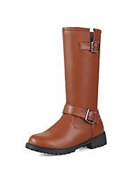 レディース 靴 PUレザー 冬 秋 コンフォートシューズ ブーツ チャンキーヒール ラウンドトウ ベックル 用途 ブラック Brown ワイン