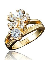 Недорогие -Жен. Кольцо Цирконий 1 Белый Красный Тёмно-синий Циркон Позолота Круглый Снежинка маргаритка Классика На каждый день Elegant Мода