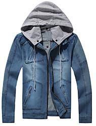 Недорогие -Для мужчин На каждый день Осень Зима Джинсовые куртки Воротник-стойка,Простой Однотонный Обычная Длинный рукав,Хлопок