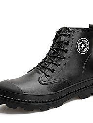baratos -Homens sapatos Courino Couro Primavera Outono Conforto Botas para Casual Preto