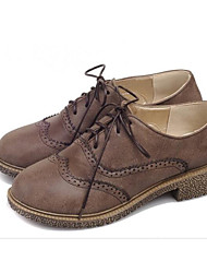 cheap -Women's Shoes PU Spring Fall Comfort Oxfords Walking Shoes Creepers Round Toe Stitching Lace Ribbon Tie for Casual Black Yellow Brown