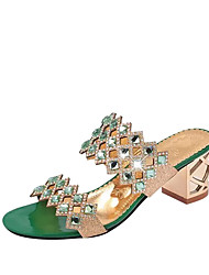 cheap -Women's Shoes PU Summer Comfort Sandals Chunky Heel Crystal Heel Block Heel Pointed Toe Crystal for Dress Gold Red Green Blue