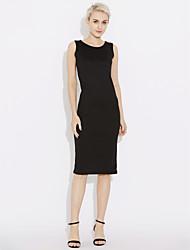 abordables -Mujer Algodón Camiseta Vestido Un Color Tiro Bajo Midi Negro / Primavera / Otoño