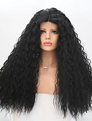 Femme Perruque Lace Front Synthétique Long Bouclé Noir Au Milieu Perruque Naturelle Perruque Déguisement