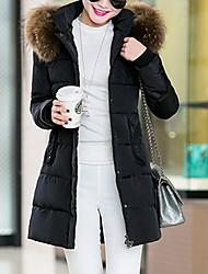 Пальто Простое Уличный стиль Длинная На подкладке Для женщин,Однотонный На выход На каждый день Полиэстер Полиэстер,Длинный рукав Капюшон
