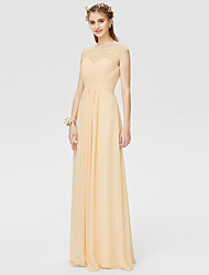 A-Line Princess Illusion Neckline Floor Length Chiffon Bridesmaid Dress with Beading Criss Cross by LAN TING BRIDE®