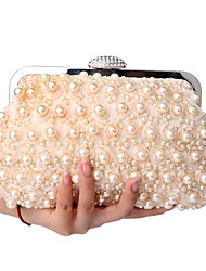 cheap -Women's Bags Polyester Clutch Pearls Champagne / White / Black / Wedding Bags