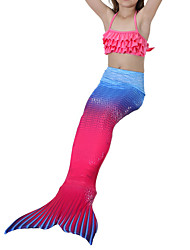 cheap -The Little Mermaid Swimwear Bikini Kids Girls' Halloween Carnival Festival / Holiday Halloween Costumes Blue Pink Yellow+Blue