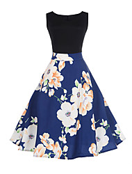 cheap -Women's Going out A Line Dress - Floral Patchwork