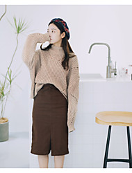 Women's Daily Wear Going out Regular Pullover,Solid Hollow Turtleneck Long Sleeves Cotton Spring/Fall Winter Medium strenchy