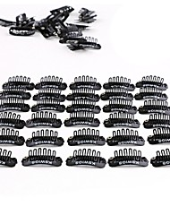 cheap -Neitsi 50Pcs U Shape Mental Snap Clip with Rubber Silicone for DIY Clip-ins Hair Weaves Extensions