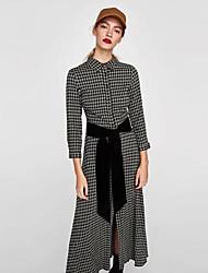 cheap -Women's Daily Sheath Dress,Solid Plaid Shirt Collar Maxi Midi Long Sleeve Polyester Winter Medium Waist Inelastic Opaque