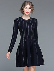 cheap -EWUS Women's Daily Going out Street chic Skater Dress,Striped Round Neck Knee-length Long Sleeve Wool Acrylic Winter Fall Medium Waist Stretchy