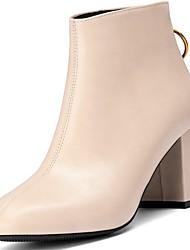 Недорогие -Для женщин Обувь Полиуретан Зима Осень Светодиодные подошвы Ботинки Блочная пятка Заостренный носок Сапоги до середины икры Назначение